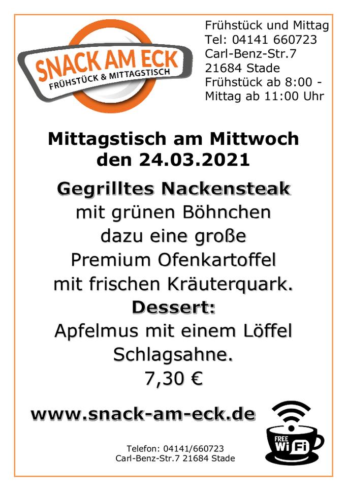 Mittagstisch am Dienstag den 24.03.2021: Gegrilltes Nackensteak mit grünen Böhnchen dazu eine große Premium Ofenkartoffel mit frischen Kräuterquark. Dessert: Apfelmus mit einem Löffel Schlagsahne. 7,30 €