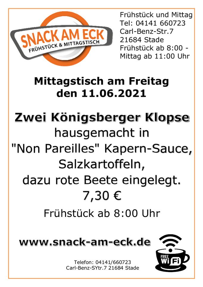 """Mittagstisch am Freitag den 11.06.2021: Zwei Königsberger Klopse hausgemacht in """"Non Pareilles"""" Kapern-Sauce, Salzkartoffeln, dazu rote Beete eingelegt. 7,30 €"""
