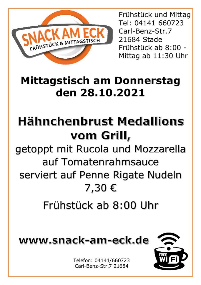Mittagstisch am Donnerstag den 28.10.2021: Hähnchenbrust Medallions vom Grill, getoppt mit Rucola und Mozzarella auf Tomatenrahmsauce serviert auf Penne Rigate Nudeln 7,30 €