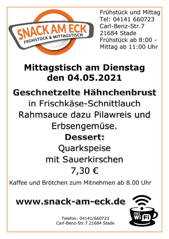 Mittagstisch am Dienstag den 04.05.2021: Geschnetzelte Hähnchenbrust in Frischkäse-Schnittlauch Rahmsauce dazu Pilawreis und Erbsengemüse. Dessert: Quarkspeise mit Sauerkirschen 7,30 €