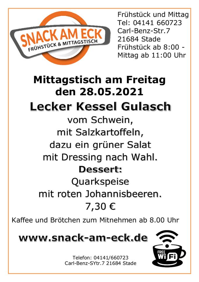 Mittagstisch am Freitag den 28.05.2021: Lecker Kessel Gulasch vom Schwein, mit Salzkartoffeln dazu ein grüner Salat mit Dressing nach Wahl. Dessert: Quarkspeise mit roten Johannisbeeren.