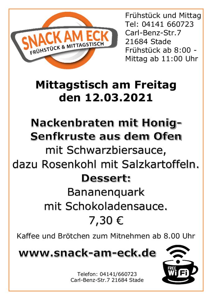 Mittagstisch am Freitag den 123.03.2021: Nackenbraten mit Honig-Senfkruste aus dem Ofen mit Schwarzbiersauce, dazu Rosenkohl mit Salzkartoffeln. Dessert: Bananenquark mit Schokoladenstreußel. 7,30 €