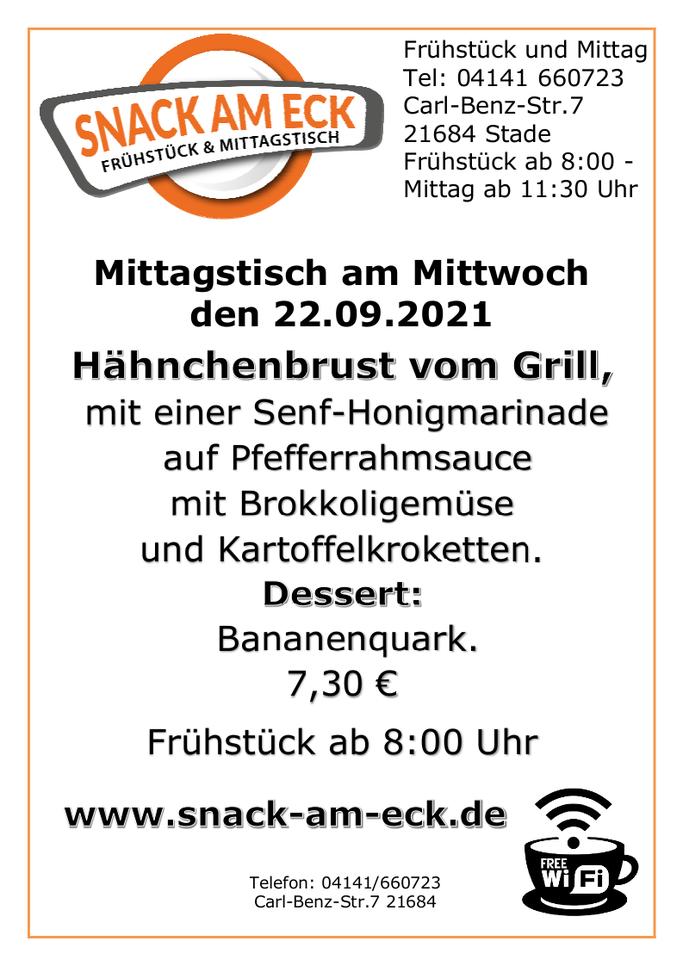 Mittagstisch am Mittwoch den 22.09.2021: Hähnchenbrust vom Grill mit einer Senf-Honigmarinade auf Pfefferrahmsauce mit Brokkoligemüse und Kartoffelkroketten. Dessert Bananenquark. 7,30 €