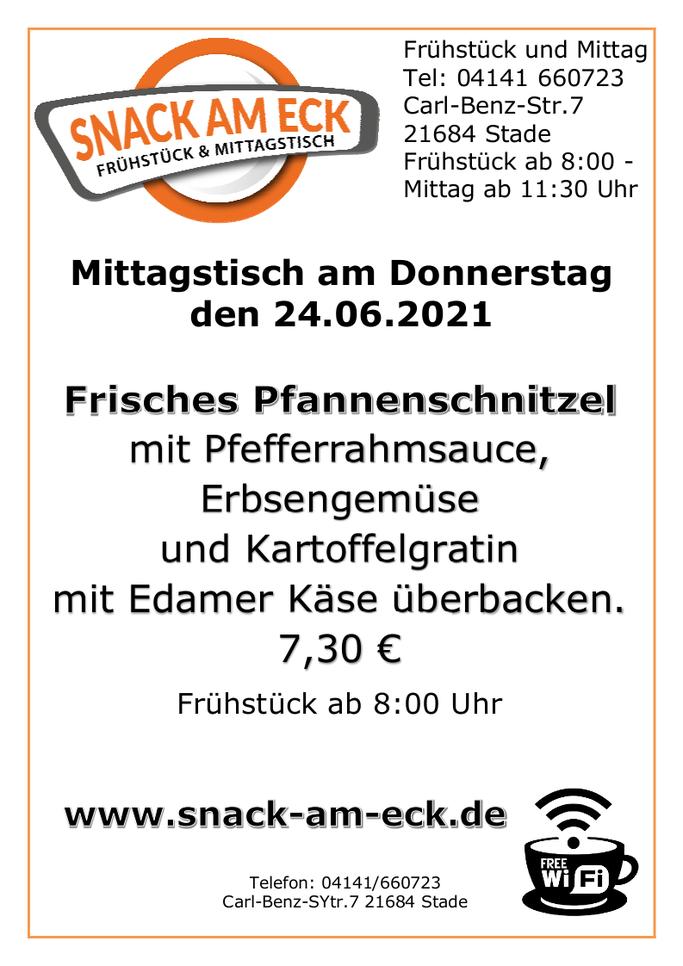 Mittagstisch am Donnerstag den 24.06.2021: Frisches Pfannenschnitzel mit Pfefferrahmsauce, Erbsengemüse und Kartoffelgratin mit Edamer Käse überbacken. 7,30 €