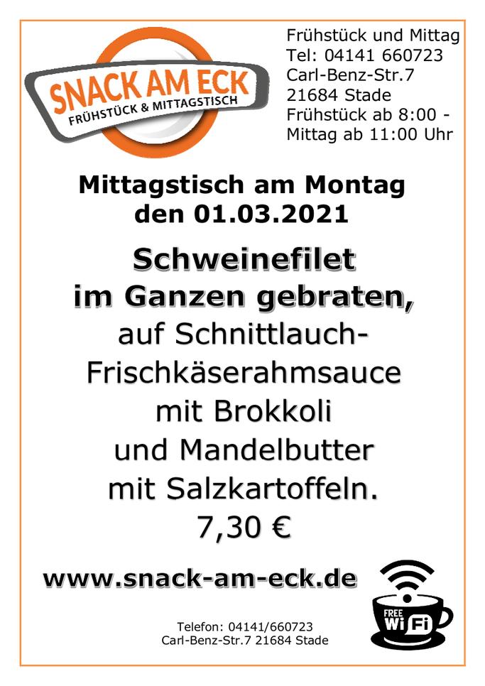 Mittagstisch am Montag den 01.03.2021: Schweinefilet im Ganzen gebraten, auf Schnittlauch-Frischkäserahmsauce mit Brokkoli und Mandelbutter mit Salzkartoffeln. 7,30 €