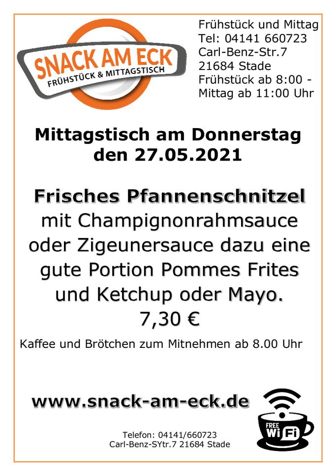 Mitttagstisch am Donnerstag den 27.05.2021: Schnitzel!