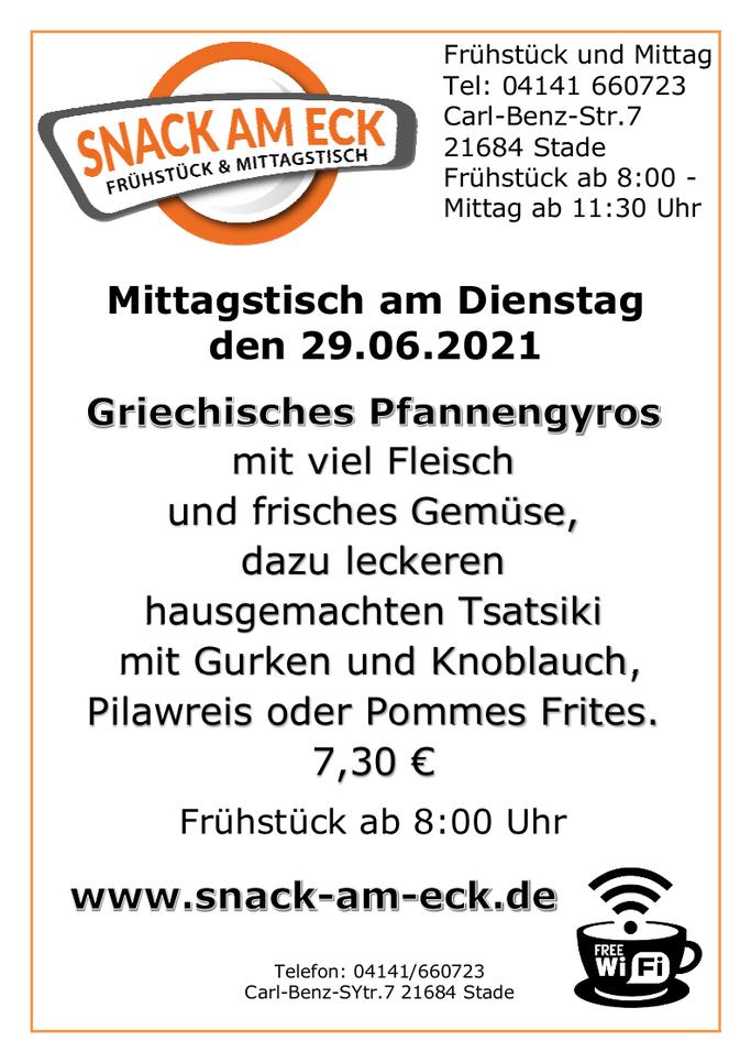 Mittagstisch am Dienstag den 29.06.2021: Griechisches Pfannengyros mit viel Fleisch und frisches Gemüse, dazu leckeren hausgemachten Tsatsiki mit Gurken und Knoblauch, Pilawreis oder Pommes Frites. 7,30 €