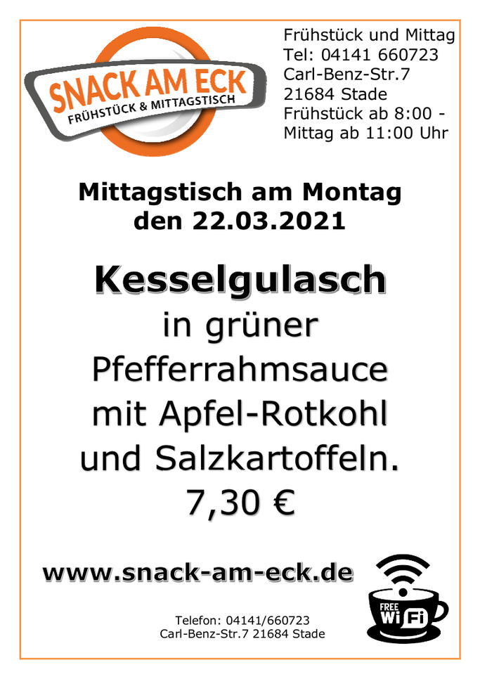 Mittagstisch am Montag den 22.03.2021: Gulasch in grüner Pfefferrahmsauce mit Apfel-Rotkohl und Salzkartoffeln. 7,30 €