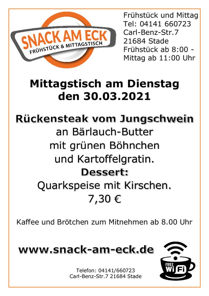 Mittagstisch am Dienstag den 30.03.2021: Rückensteak vom Jungschwein an Frischkräuter -Butter mit grünen Böhnchen und Kartoffelgratin. Dessert: Quarkspeise mit Kirschen. 7,30 €