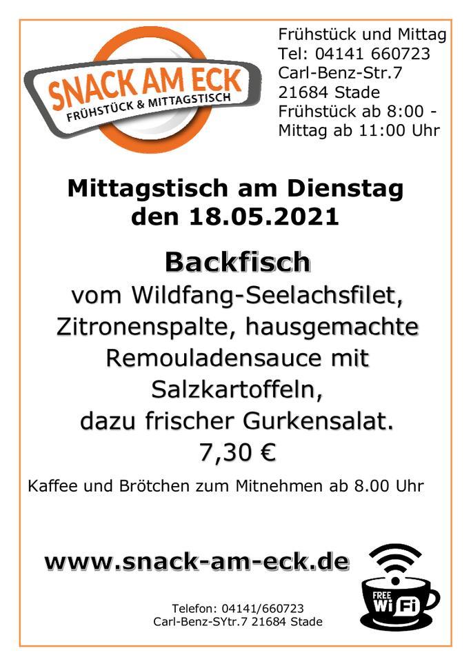 Mittagstisch am Dienstag den 18.05.2021: Backfisch vom Wildfang-Seelachsfilet, Zitronenspalte,hausgemachte Remouladensauce mit Salzkartoffeln, dazu frischer Gurkensalat. 7,30 €