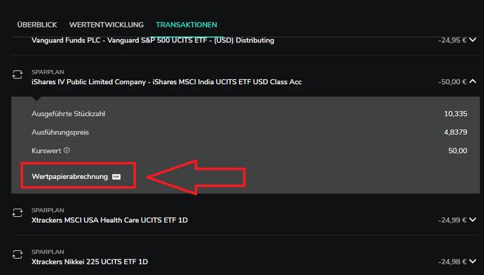 Wertpapierabrechnung PDF bei Scalable Capital