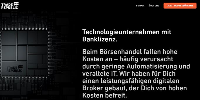 Screenshot Trade Republic Website