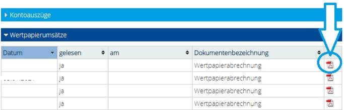 Baader Bank Download der Kaufabrechnungen bei Scalable Broker