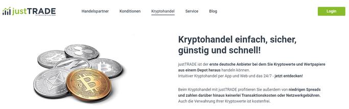 Kryptohandel bei JustTrade - Screenshot der Website