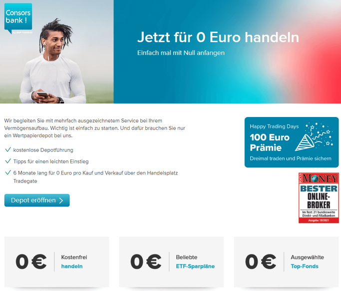 Consorsbank 100€ Startguthaben Aktion (Bildquelle: Consorsbank Website)