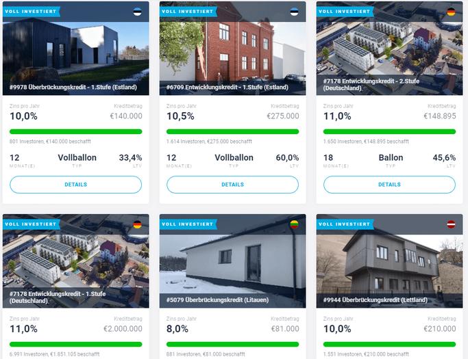 Beispiele von EstateGuru Krediten