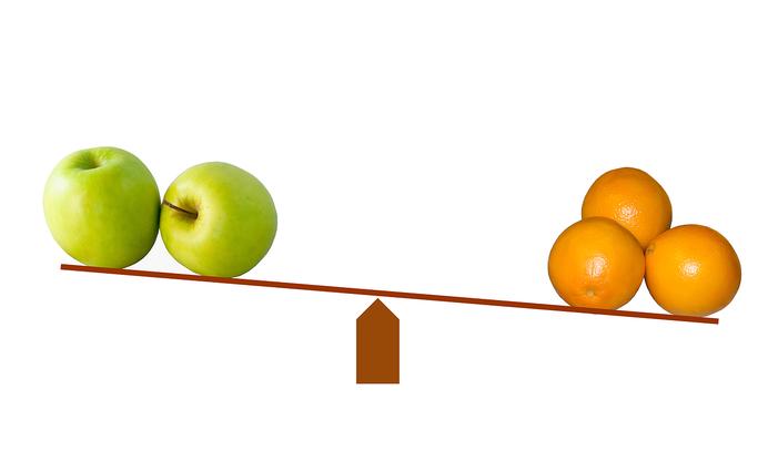 Vergleich Äpfel und Orangen