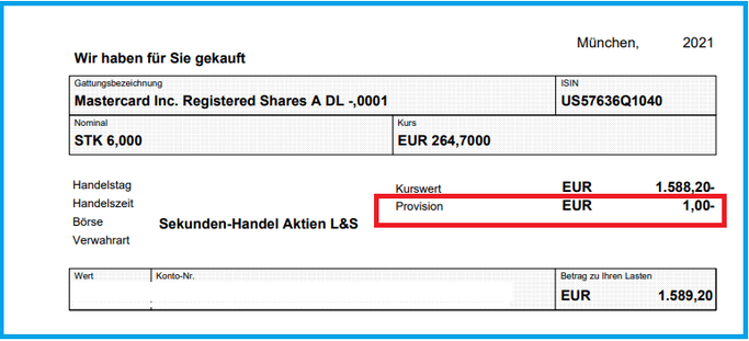 Screenshot Mastercard Aktien Kauf von Kosten