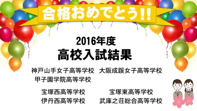2016年度高校入試結果実績