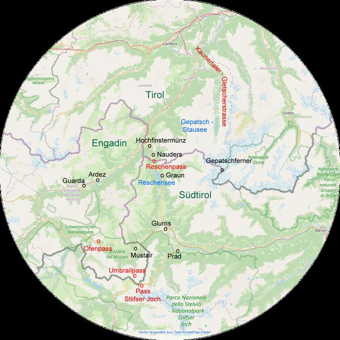 Das Dreiländereck. Die beschriebenen Orte auf einer Übersichtskarte.