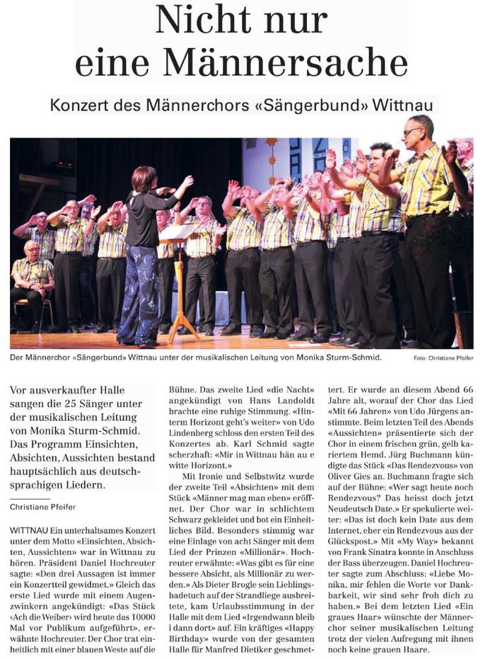 Zeitungsbericht vom Konzert 2019 in der NFZ