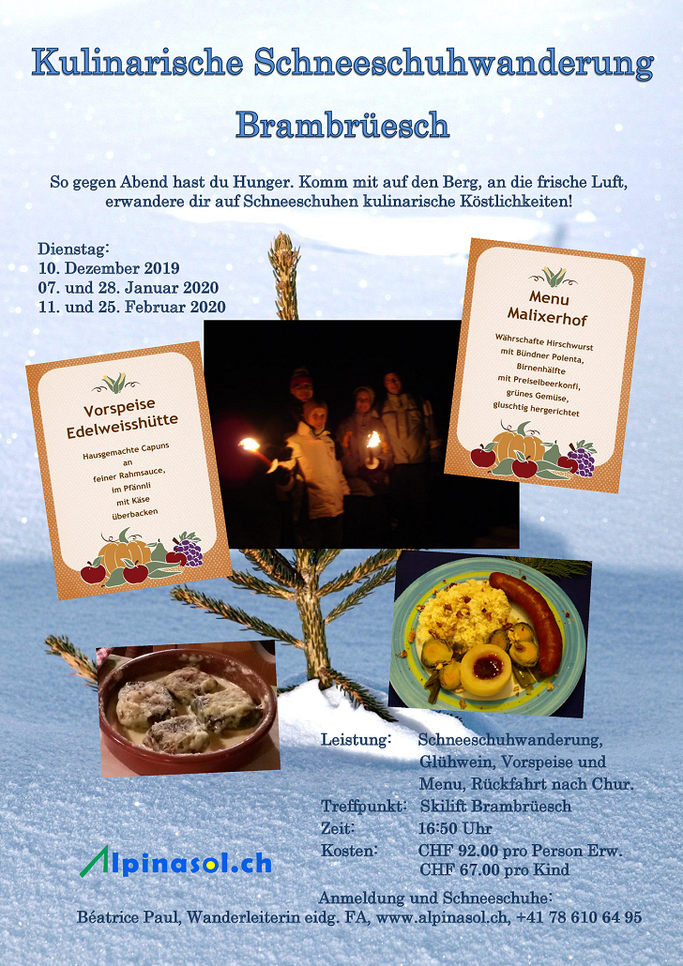 Details Angebot Kulinarische Schneeschuhwanderungen