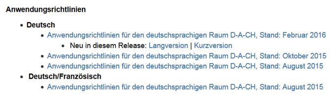 Screenshot des D-A-CH-Bereichs im RDA-Info-Wiki, jetzt mit Dokumentation der Änderungen