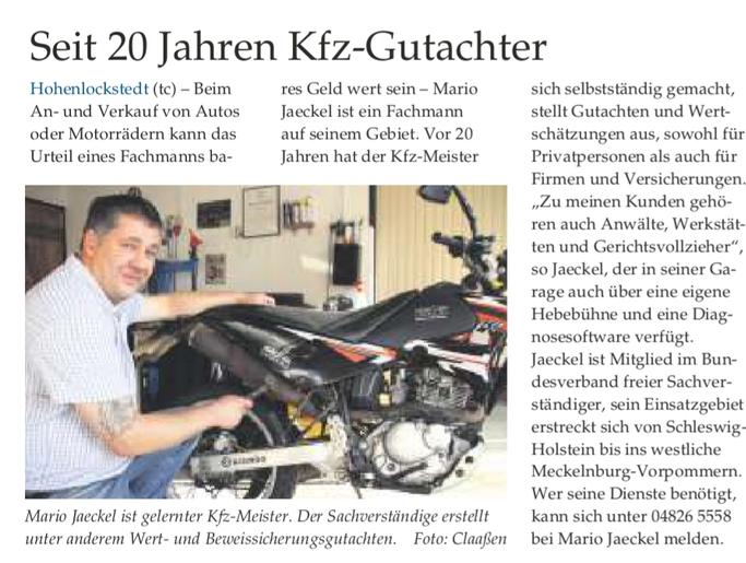 Mario Jaeckel Kfz-Gutachter und Kfz-Sachverständiger in Hohenlockstedt