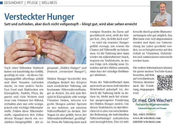 Land und Leben, Ernährungstipps Dr med Dirk Wichert