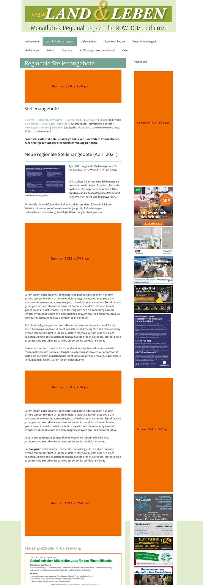 Banner buchen Regionalmagazin ROW und OHZ bis in den Bremer Raum und den Stader Raum.