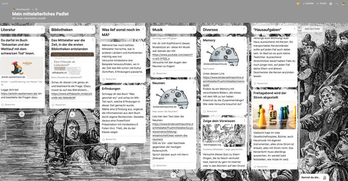 Padlet zum Thema Mittelalter, sechs verschiedene Themenbereiche