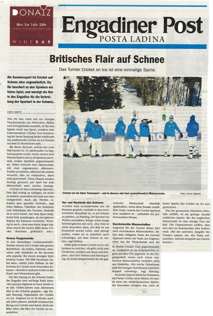 Britishes Flair auf Schnee - Engadiner Post (20.2.2016)