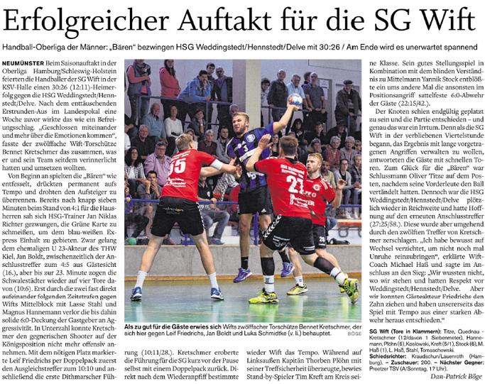 1. Spieltag Oberliga 2017/2018