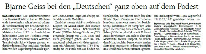 Nachbericht Deutsche U22 Meisterschaft, Courier vom 24.04.2017