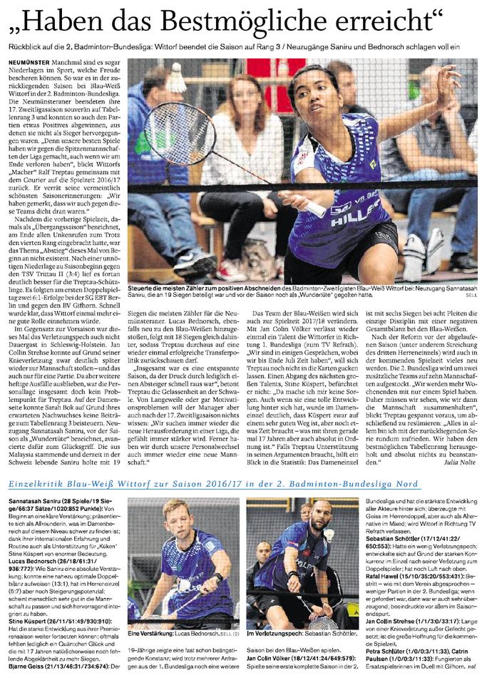 Saisonrückblick 2016-2017, Courier vom 27.04.2017