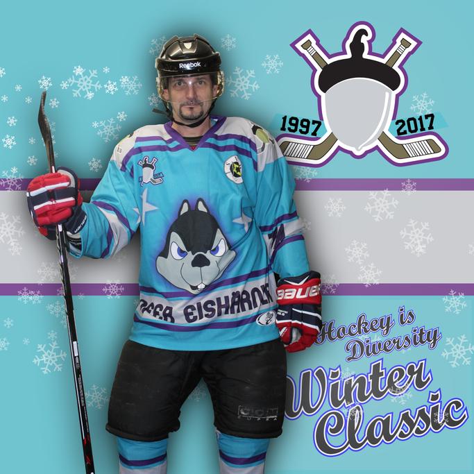 """Das Team """"Hockey is Diversity"""" wird anlässlich des -jährigen Bestehens der Hofer Eishärnla in stark an das erste Eishärnla-Trikot der Geschichte angelehnten Jerseys spielen."""