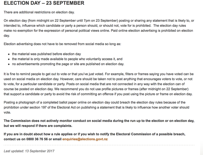 Election Day Rules NZ for Social Media