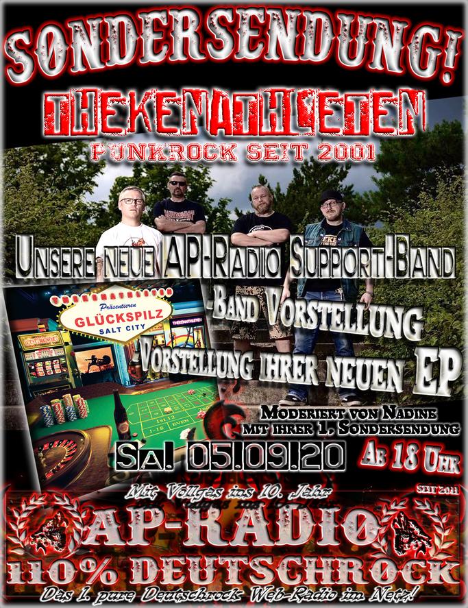 Unsere neue Support-Band Thekenathleten bei AP-Radio - 110% Deutschrock