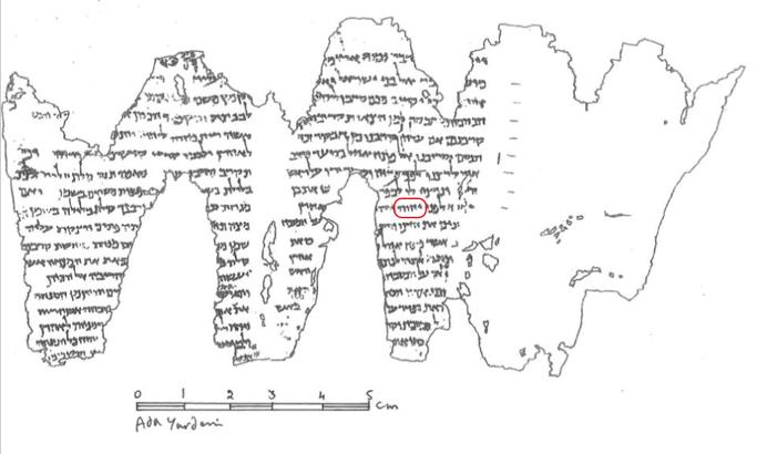 Le rouleau carbonisé d'En-Gedi contient un texte de 35 lignes correspondant au passage biblique des 2 premiers chapitres du Lévitique. Il contient le Tétragramme YHWH du Nom de Dieu.