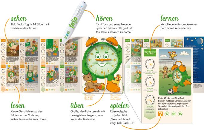 sehen hören lernen lesen üben spielen mit dem Ticki Tack Uhrzeit-Lernbuch