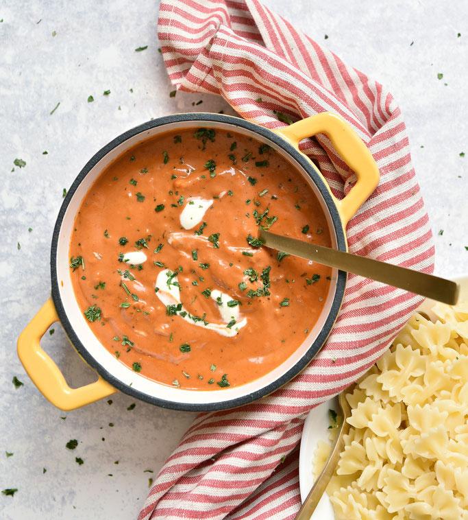 Pasta Soße Tomaten Sahne, selbst gemacht, statt Fertigprodukt