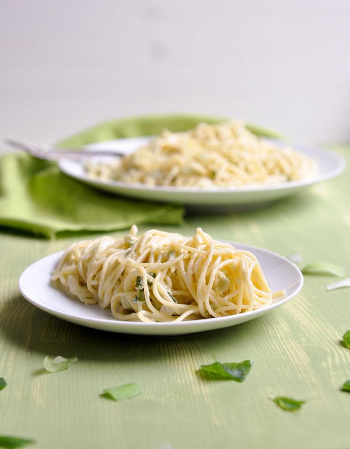 Lauch Sahne Soße zu Spaghetti aus dem Thermomix vegan möglich