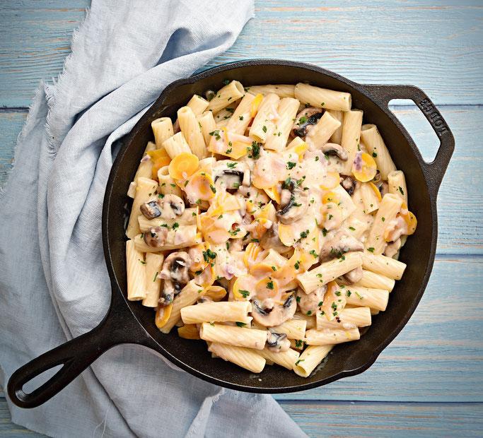 Pasta in cremiger Soße mit Möhren und Pilzen, Thermomix