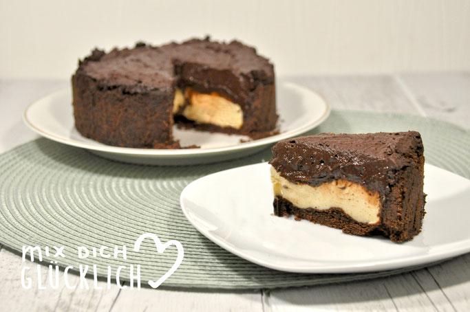 Mousse au Chocolat Cheesecake auch vegan möglich, Mousse au Chocolat Käsekuchen aus dem Thermomix cremig und schokoladig