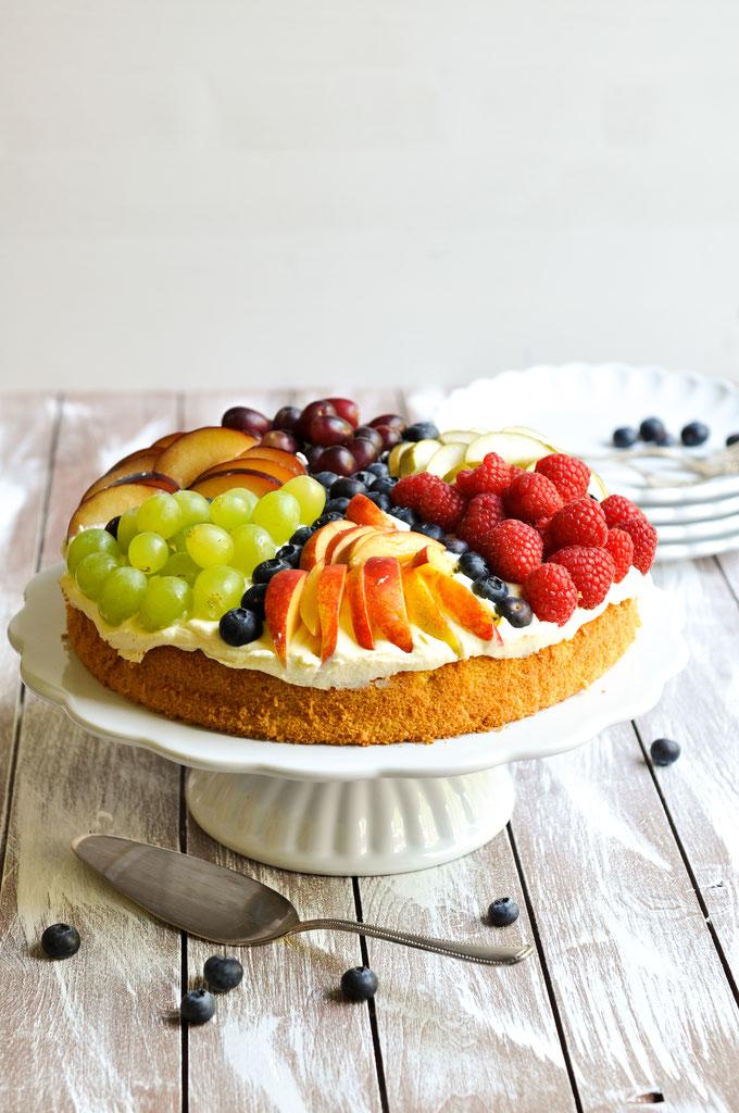 Sommer Torte mit Vanillecreme und Früchten, vegan möglich, Thermomix