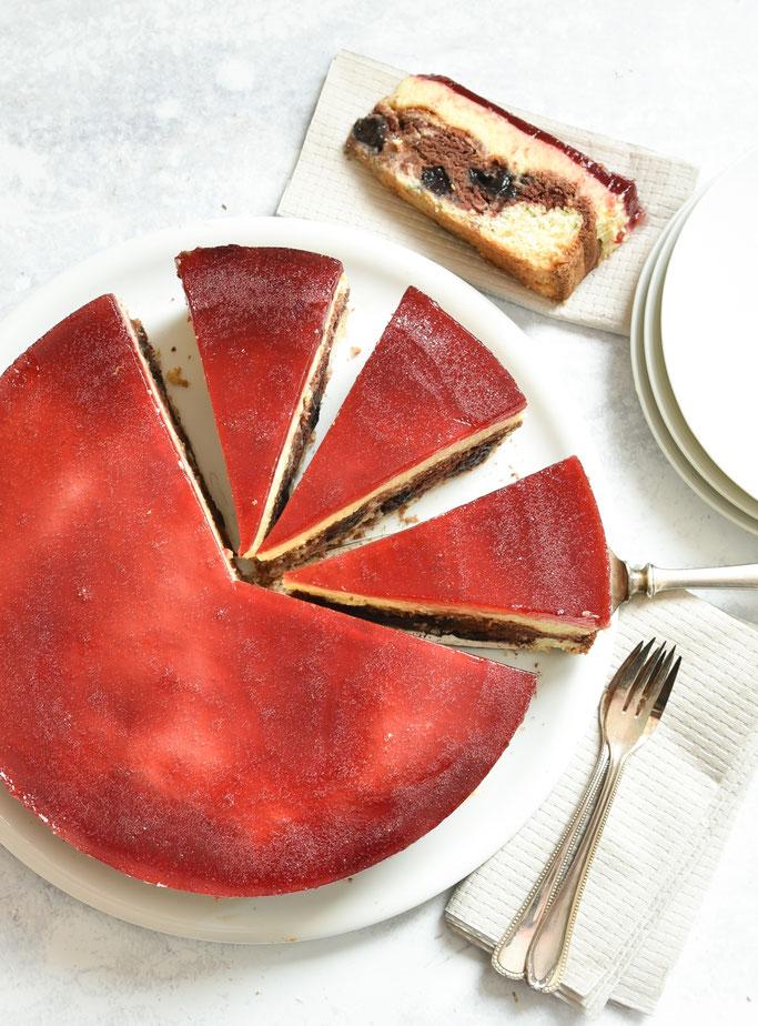 Rotkäppchen Kuchen mit Vanille Quark Creme, vegan möglich, Thermomix