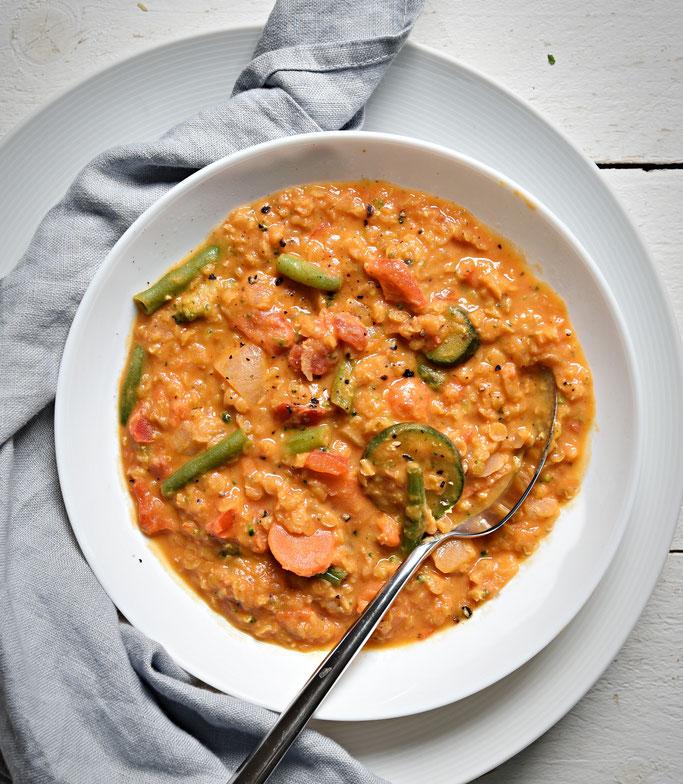 Kokos Linsen Topf mit italienischem Gemüse, all in one, Thermomix