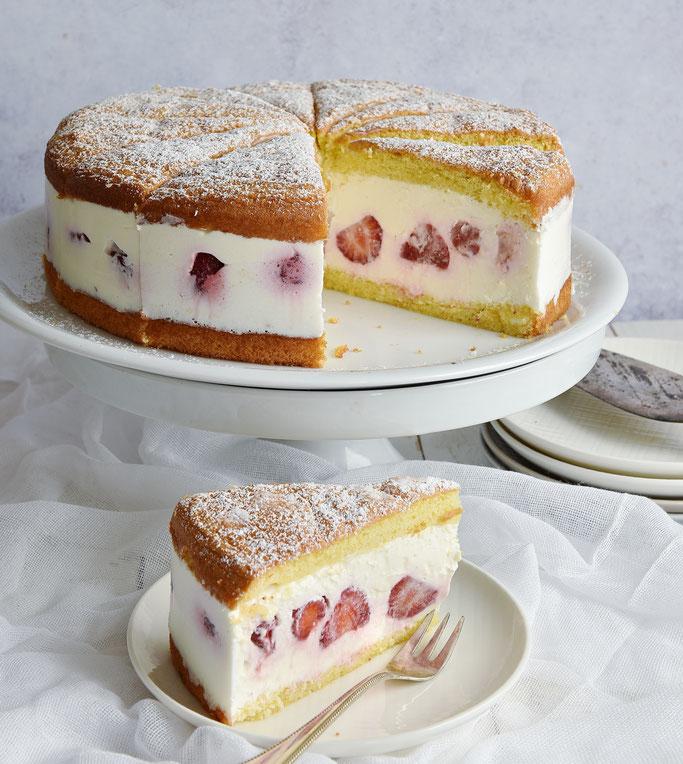 Käse Sahne Torte mit Erbeeren ohne Gelatine, Thermomix