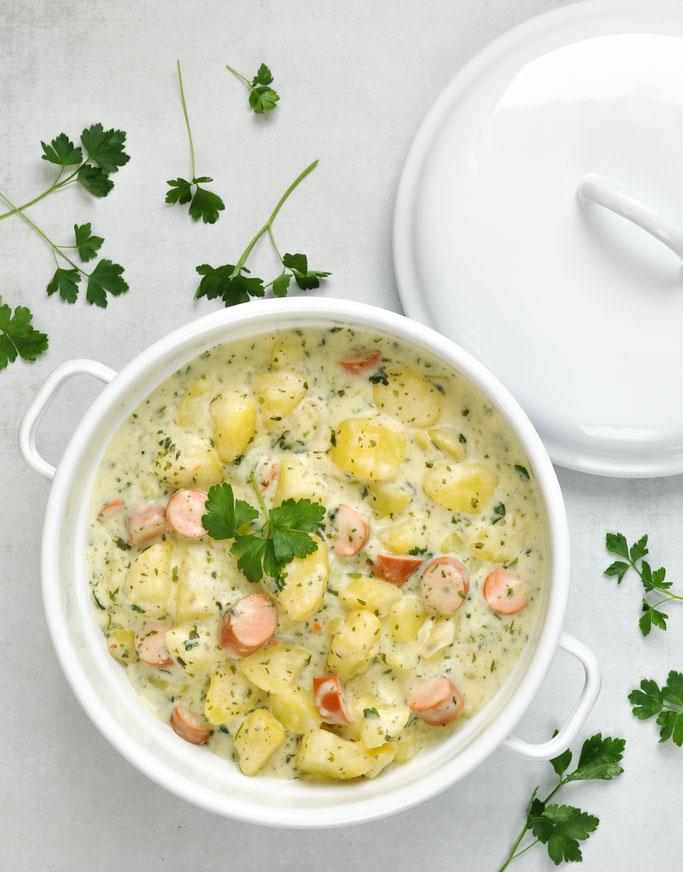 Petersilien Kartoffel Topf mit Würstchen, One Pot Gericht, Thermomix, vegetarisch, vegan machbar, Mittagessen