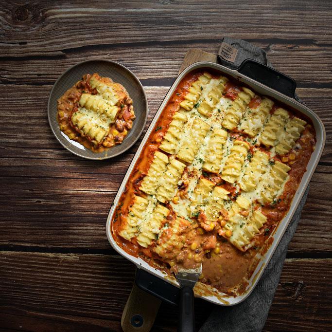 Kroketten Auflauf mit Hack Bohnen Gemüse, vegetarisch, vegan machbar, Thermomix